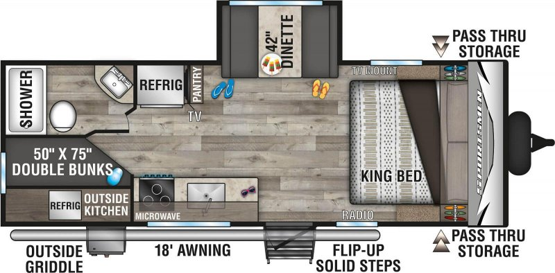 2021 K-Z INC. SPORTSMEN LE 231BHKLE Floorplan