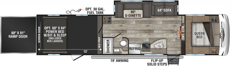2021 K-Z INC. Sportster 331th13 Floorplan