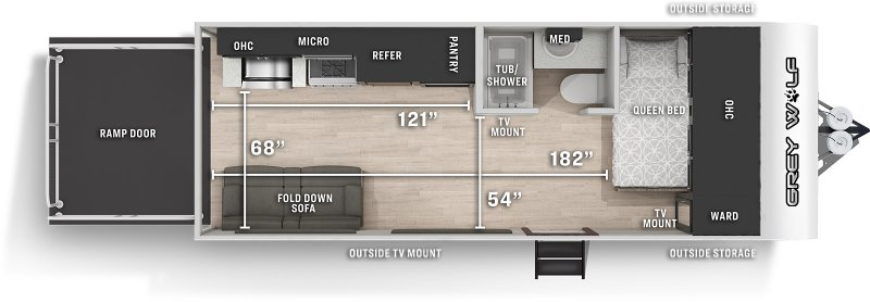 2021 FOREST RIVER Grey Wolf 18RR Floorplan