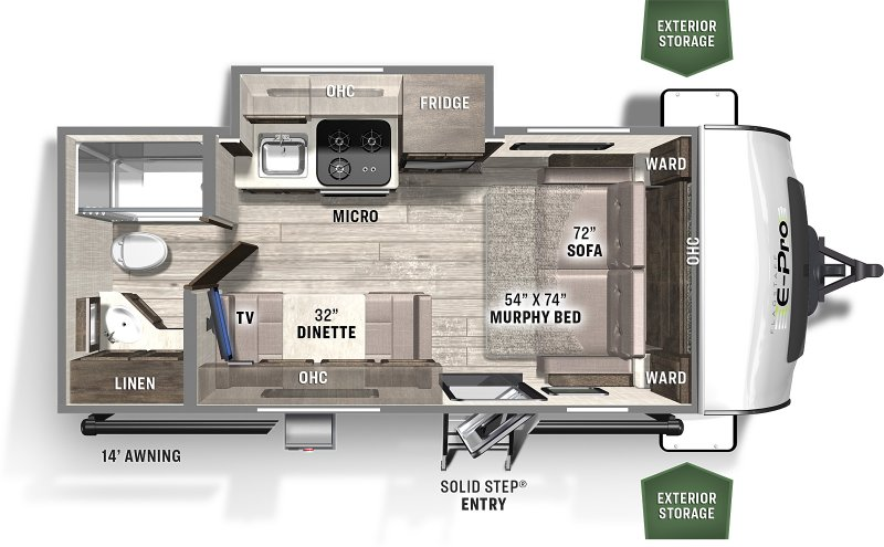 2021 FOREST RIVER FLAGSTAFF EPRO 19FDS Floorplan