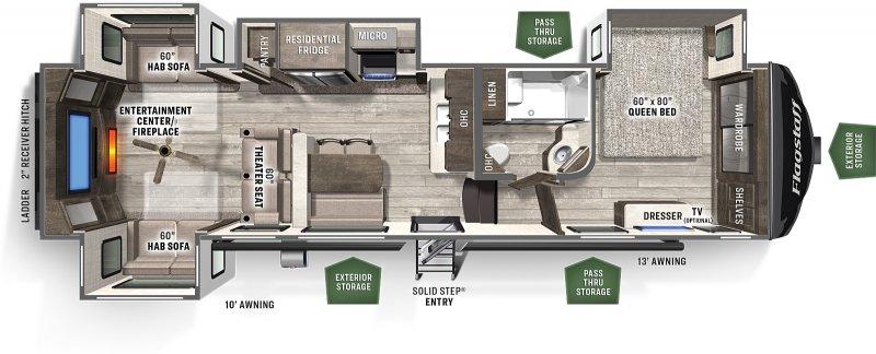 2022 FOREST RIVER Flagstaff 29 RLBS Rear Living Room Floorplan