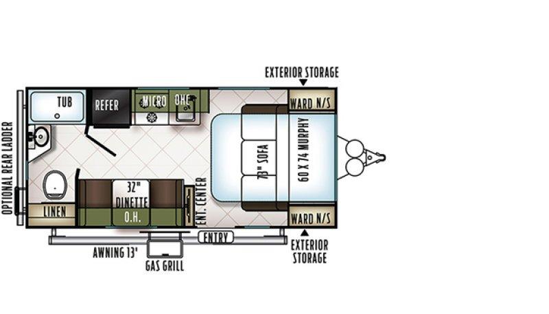 2018 FLAGSTAFF Micro Lite 19FD XLT Floorplan