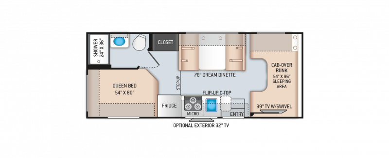 2021 THOR MOTOR COACH Four Winds 22E Floorplan
