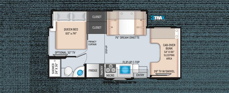 2022 THOR MOTOR COACH Four Winds 24F Floorplan
