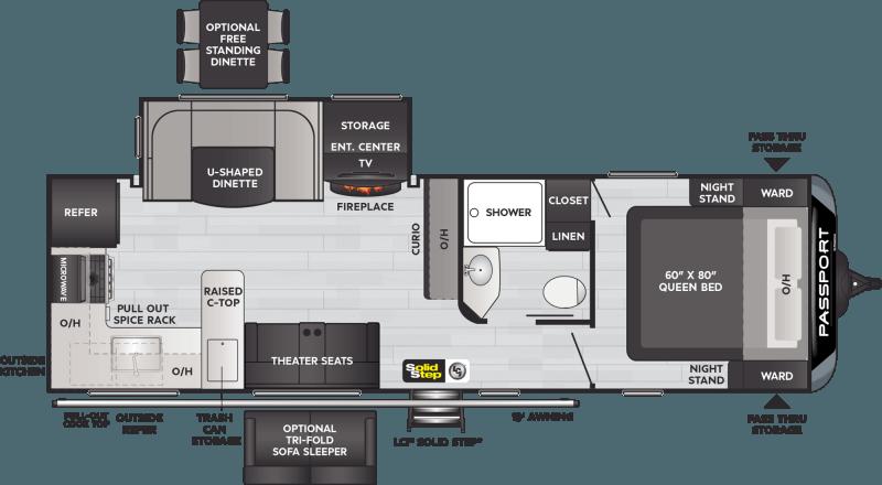 2021 KEYSTONE Passport 2704RK GT Rear Kitchen Floorplan