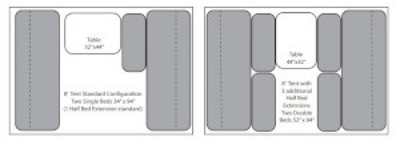 2021 JUMPING JACK TRAILERS Mid 6 x 12 w/8' Tent Floorplan