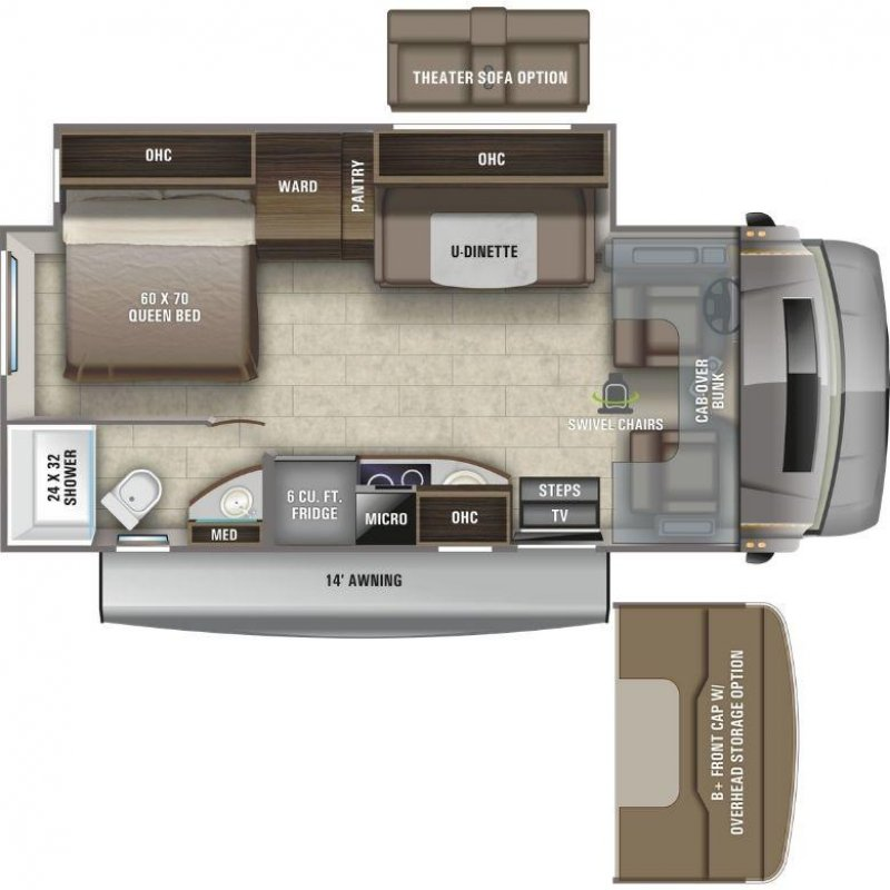 2021 ENTEGRA COACH Qwest 24L Mercedes Benz Floorplan