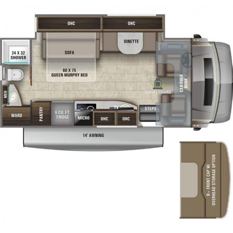 2021 ENTEGRA COACH Qwest 24R Mercedes Benz Floorplan