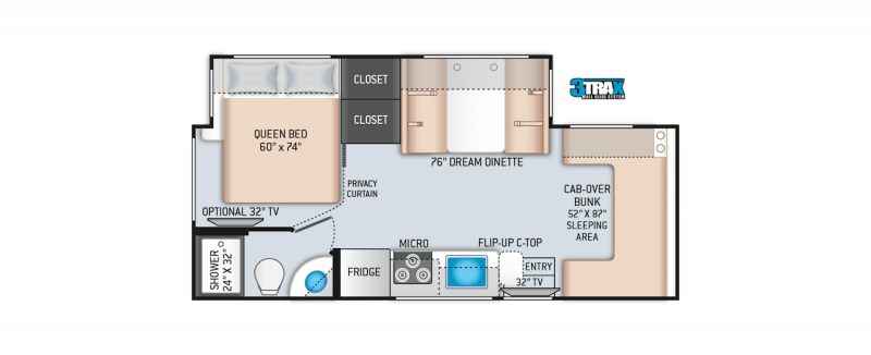 2021 THOR MOTOR COACH Four Winds 24BL Mercedes Benz Sprinter Floorplan