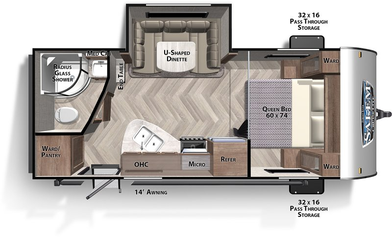 2021 FOREST RIVER Salem 210RB Couples Trailer Floorplan