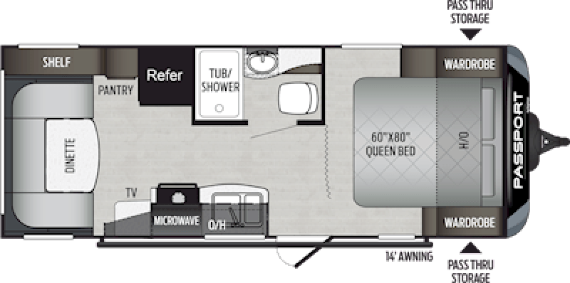 2020 KEYSTONE Passport 216RD SL Floorplan