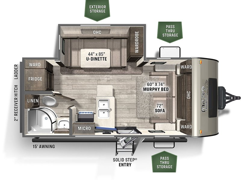 2021 FOREST RIVER Flagstaff Micro Lite 21DS Floorplan
