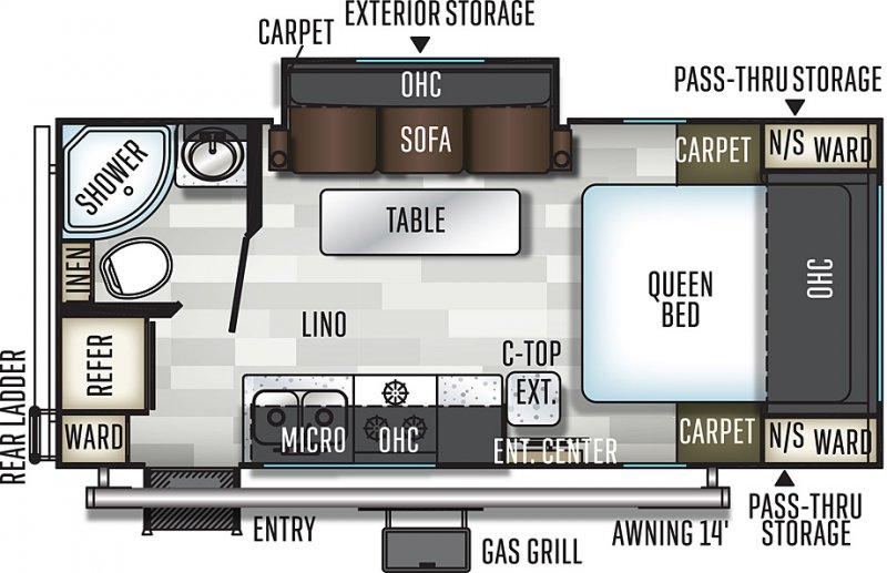 2020 FLAGSTAFF Micro Lite 21FBRS Floorplan
