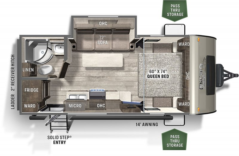 2021 FOREST RIVER Flagstaff Micro Lite 21FBRS Floorplan