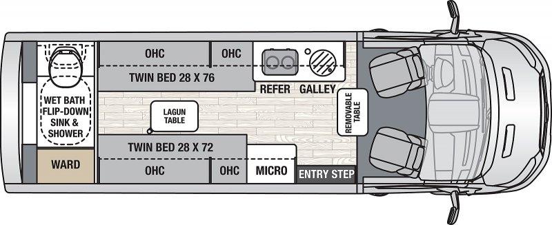 2022 COACHMEN Beyond 22 Rear Bath Li3 AWD Floorplan