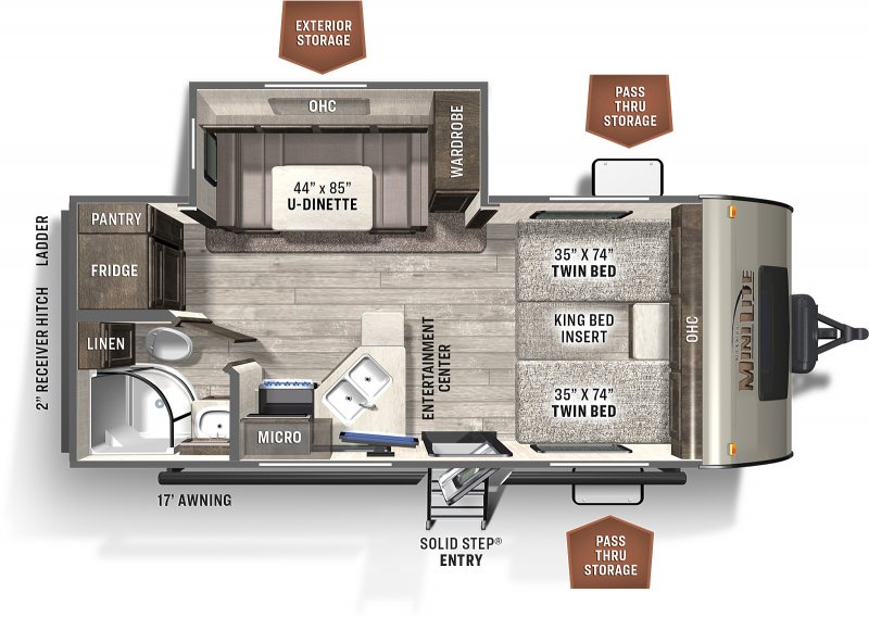 2021 FOREST RIVER Flagstaff Micro Lite 22TBS Floorplan