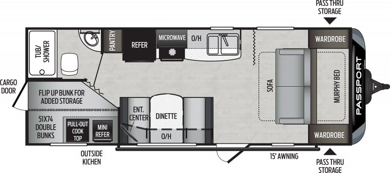 2020 KEYSTONE Passport 239 ML SL BUNKS Floorplan