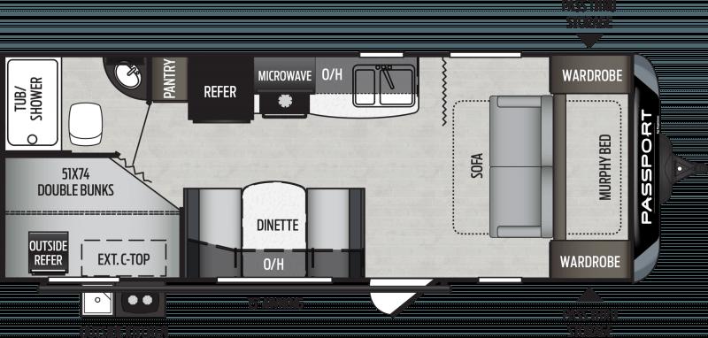 2020 KEYSTONE Passport 239 ML SL BUNKS Floorplan