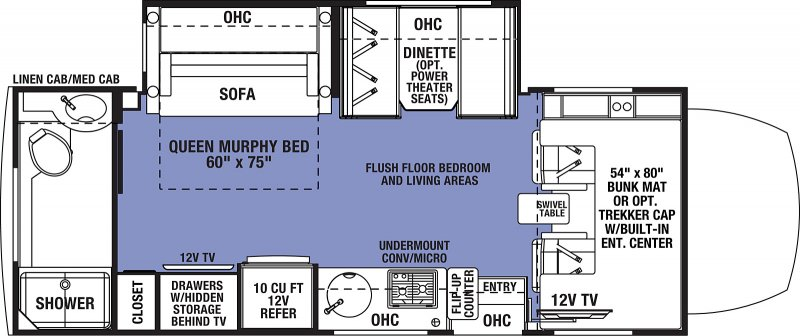2021 FOREST RIVER Sunseeker MBS 2400T Trekker Floorplan
