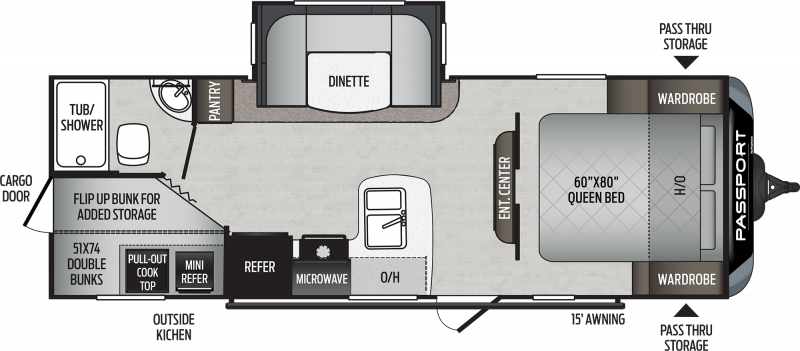 2021 KEYSTONE Passport 240BH SL  BUNKS Floorplan
