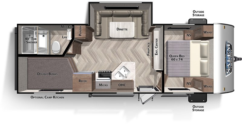2021 FOREST RIVER Salem 243BH - Double Bunks Floorplan
