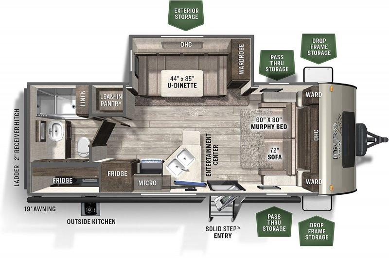 2021 FOREST RIVER Flagstaff Micro Lite 25BDS Floorplan