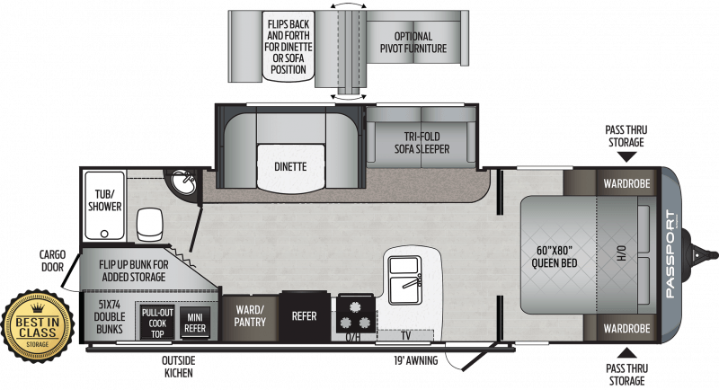 2020 KEYSTONE Passport 267BH SL  BUNKS Floorplan