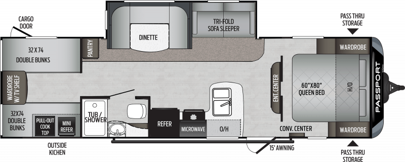 2020 KEYSTONE Passport 292BH SL QUAD BUNKS Floorplan
