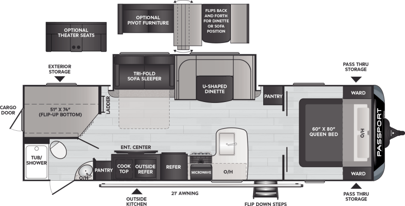 2021 KEYSTONE Passport 2950BH GT BUNKS Floorplan
