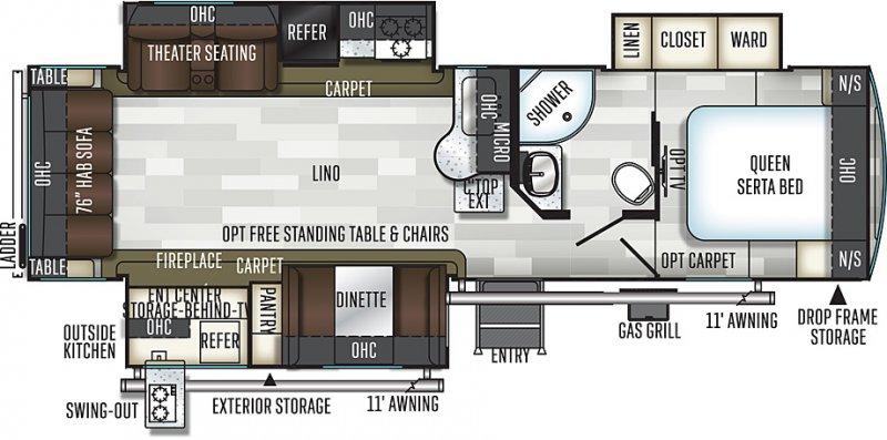 2020 FLAGSTAFF Super Lite 29RSWS Floorplan
