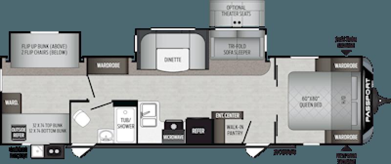 2020 KEYSTONE Passport 3221BH GT QUAD BUNKS + Floorplan