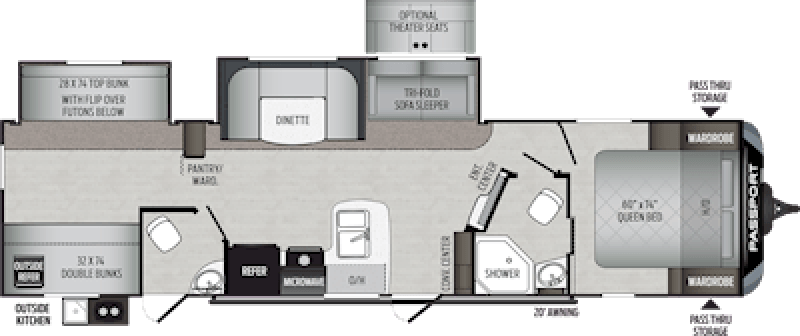 2020 KEYSTONE Passport 3351BH GT QUAD BUNKS + Floorplan
