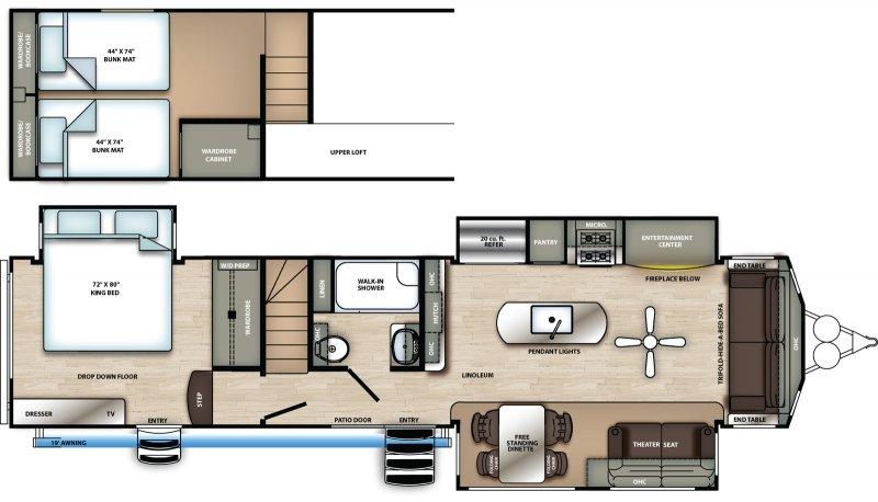 2020 FOREST RIVER Sierra 399 LOFT Destination Floorplan