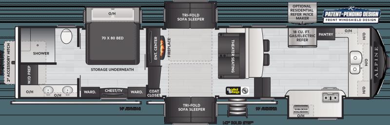 2022 KEYSTONE Alpine 3790FK Front Kitchen Floorplan