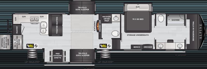 2021 KEYSTONE Alpine 3910RK Rear Kitchen1-1/2 Bath Floorplan