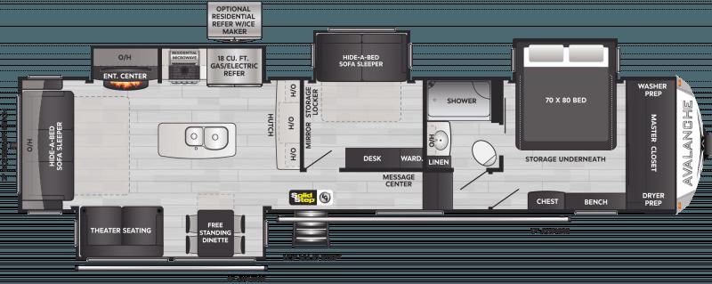 2022 KEYSTONE Avalanche 372MB Mid Bunk Room Floorplan
