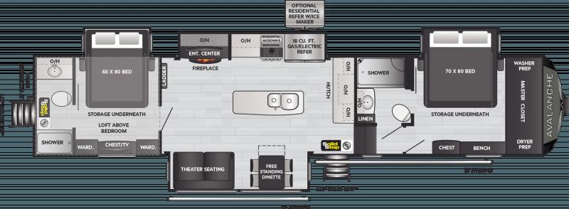 2022 KEYSTONE Avalanche 390DS Double Suite Floorplan