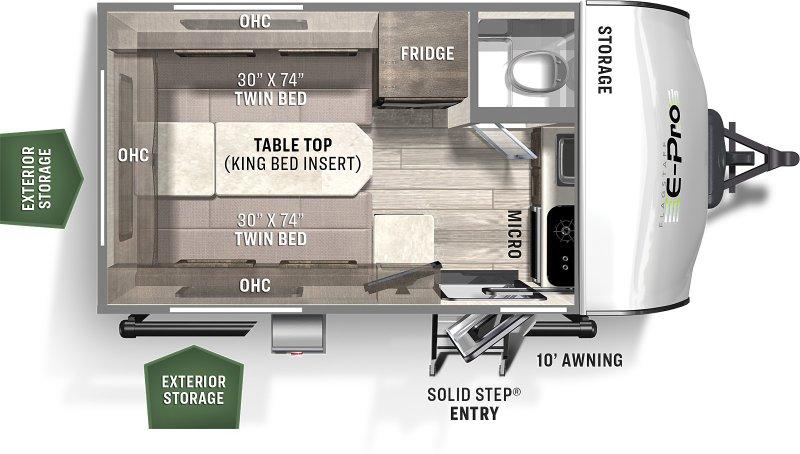 2022 FOREST RIVER Flagstaff EPRO 15TB 2608 lbs Floorplan