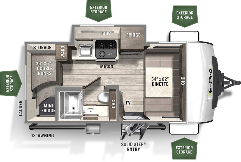 2021 FOREST RIVER FLAGSTAFF EPRO 16BHS BUNKS Floorplan