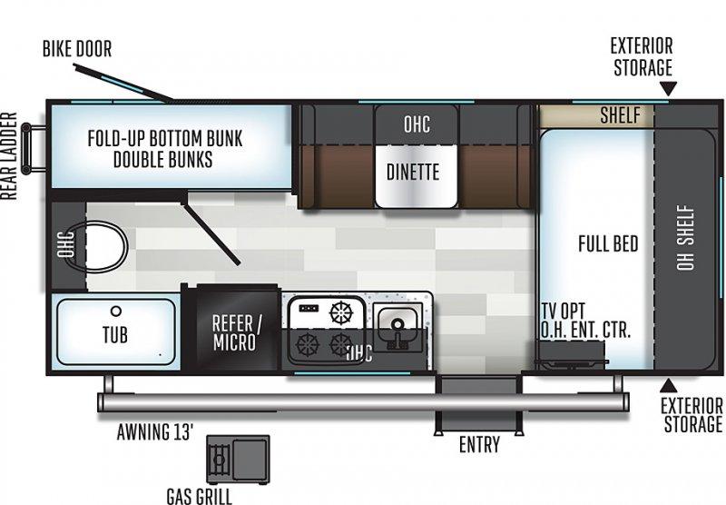 2020 FLAGSTAFF E-Pro 19BH -  BUNKS Only 3088 lbs Floorplan