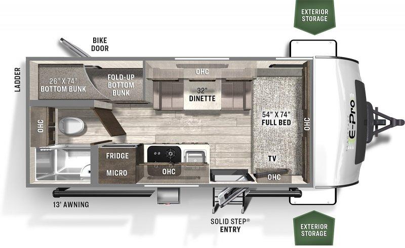 2022 FOREST RIVER Flagstaff EPRO 19BH Bunks 3178 lbs Floorplan