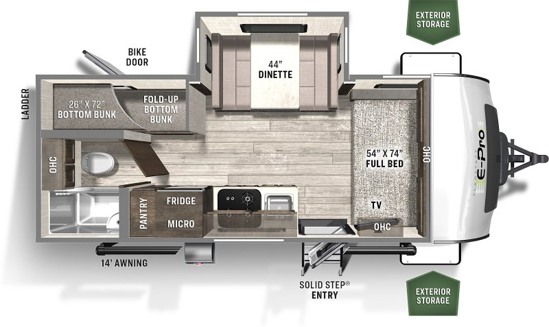 2021 FOREST RIVER FLAGSTAFF EPRO 20BHS BUNKS Floorplan