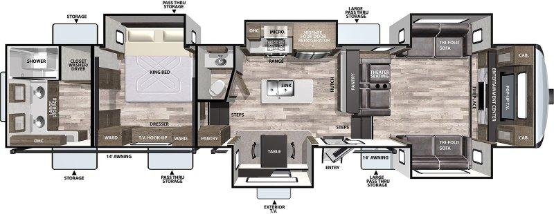 2021 FOREST RIVER CARDINAL 370FLX Luxury Floorplan