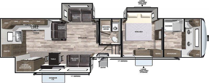2021 FOREST RIVER CARDINAL 390FBX Luxury - 2 Bath Floorplan