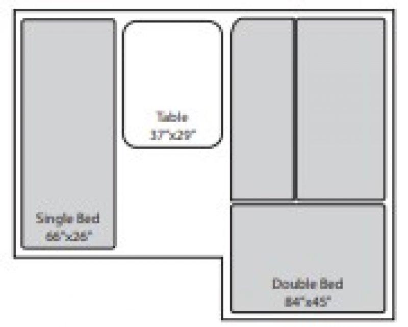 2021 JUMPING JACK TRAILERS Explorer 4 x 6 w/6' Tent Floorplan