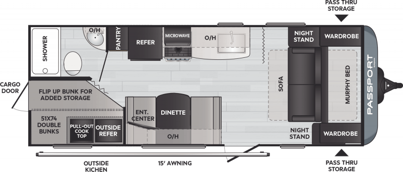 2021 PASSPORT Passport 219BH BUNKS Floorplan