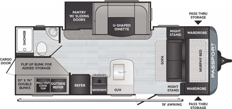 2021 PASSPORT Passport 221BH BUNKS Floorplan