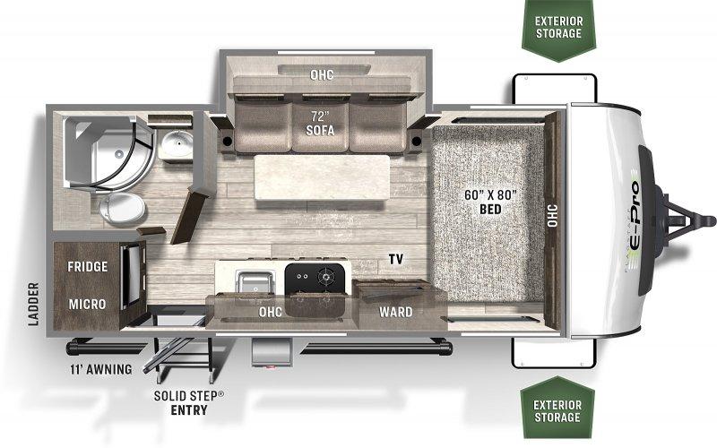 2022 FOREST RIVER FLAGSTAFF EPRO 19FBS 3375 lbs Floorplan