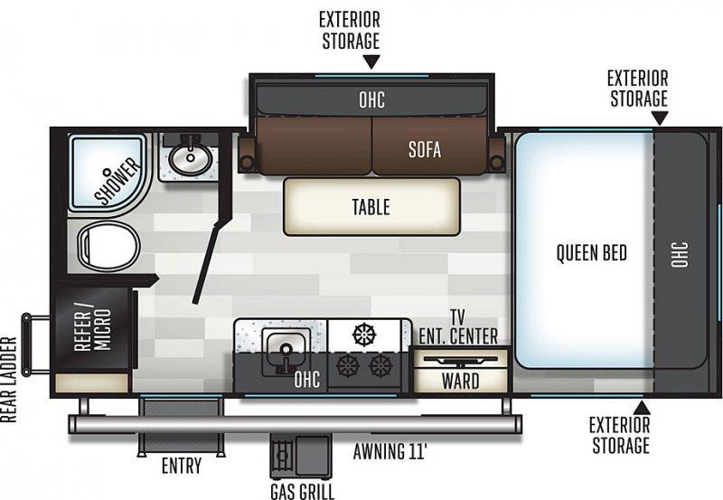 2020 FLAGSTAFF E-Pro 19FBS Floorplan