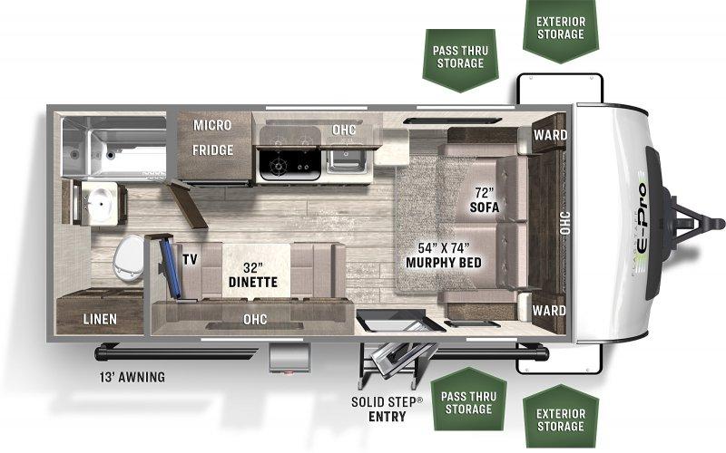 2022 FOREST RIVER FLAGSTAFF EPRO 19FD 3233 lbs Floorplan